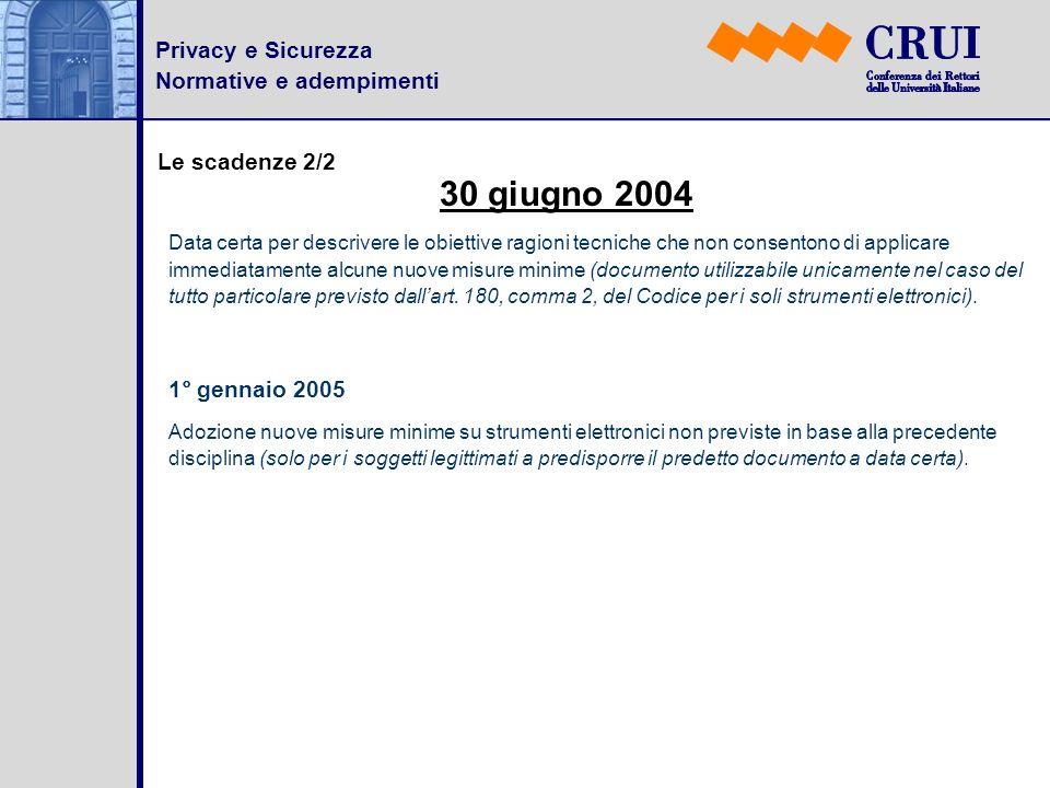 Privacy e Sicurezza Normative e adempimenti Le scadenze 2/2 Data certa per descrivere le obiettive ragioni tecniche che non consentono di applicare im