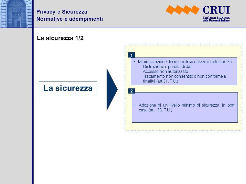 Privacy e Sicurezza Normative e adempimenti La sicurezza 1/2 La sicurezza Adozione di un livello minimo di sicurezza, in ogni caso (art. 33, T.U.) 2 M
