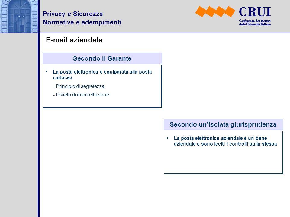 Privacy e Sicurezza Normative e adempimenti E-mail aziendale Secondo il Garante La posta elettronica è equiparata alla posta cartacea - Principio di s