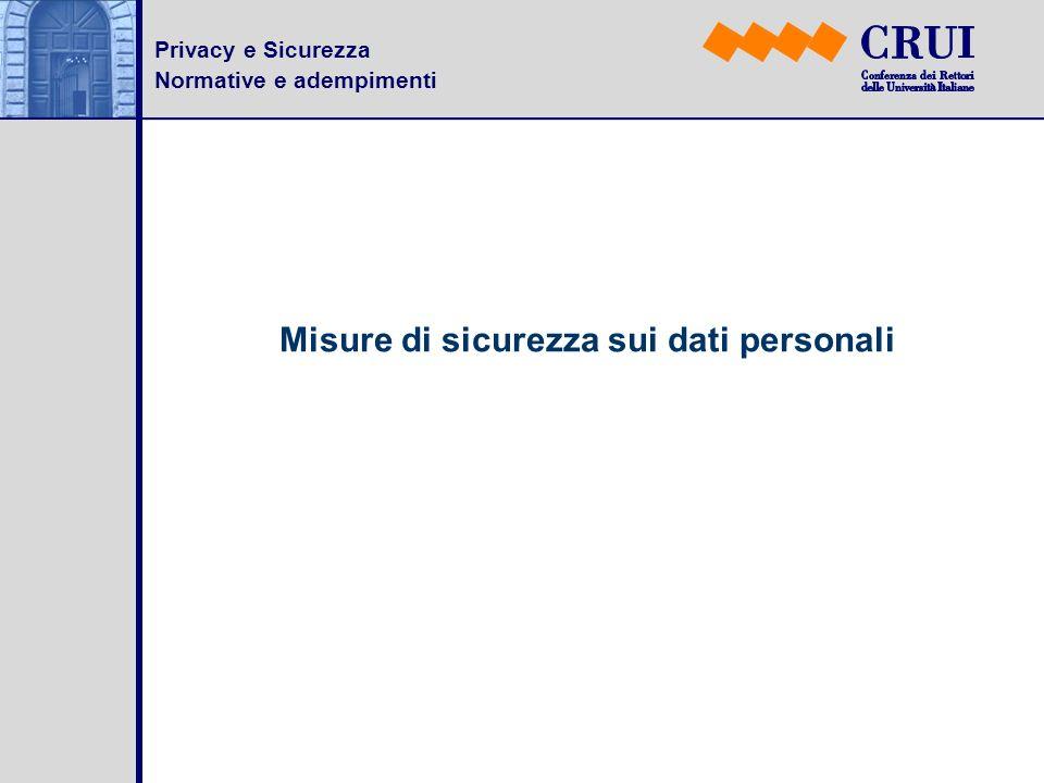 Privacy e Sicurezza Normative e adempimenti Misure di sicurezza sui dati personali