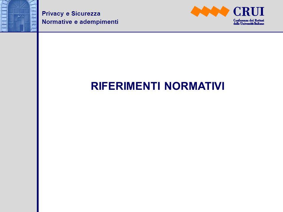Privacy e Sicurezza Normative e adempimenti RIFERIMENTI NORMATIVI