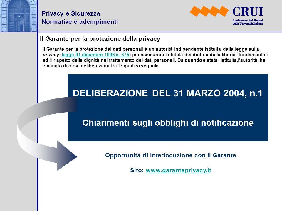 Privacy e Sicurezza Normative e adempimenti ll Garante per la protezione della privacy Il Garante per la protezione dei dati personali è unautorità in