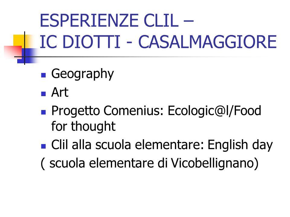 ESPERIENZE CLIL – IC DIOTTI - CASALMAGGIORE Geography Art Progetto Comenius: Ecologic@l/Food for thought Clil alla scuola elementare: English day ( sc