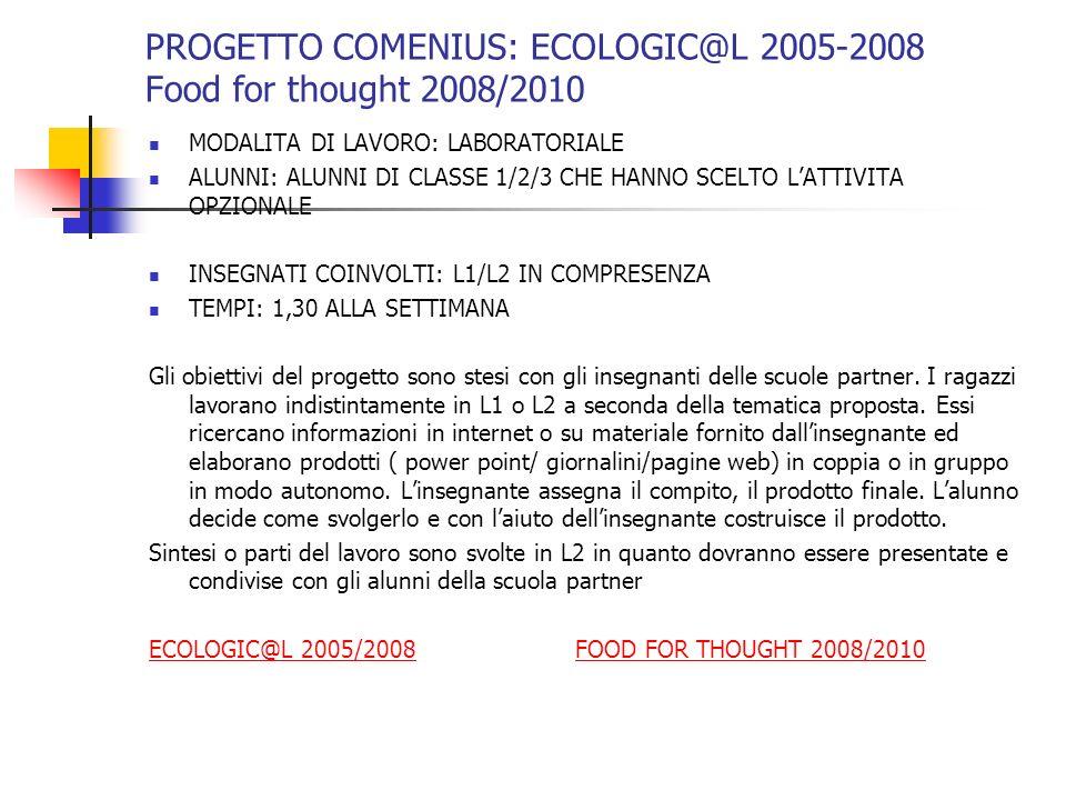PROGETTO COMENIUS: ECOLOGIC@L 2005-2008 Food for thought 2008/2010 MODALITA DI LAVORO: LABORATORIALE ALUNNI: ALUNNI DI CLASSE 1/2/3 CHE HANNO SCELTO L