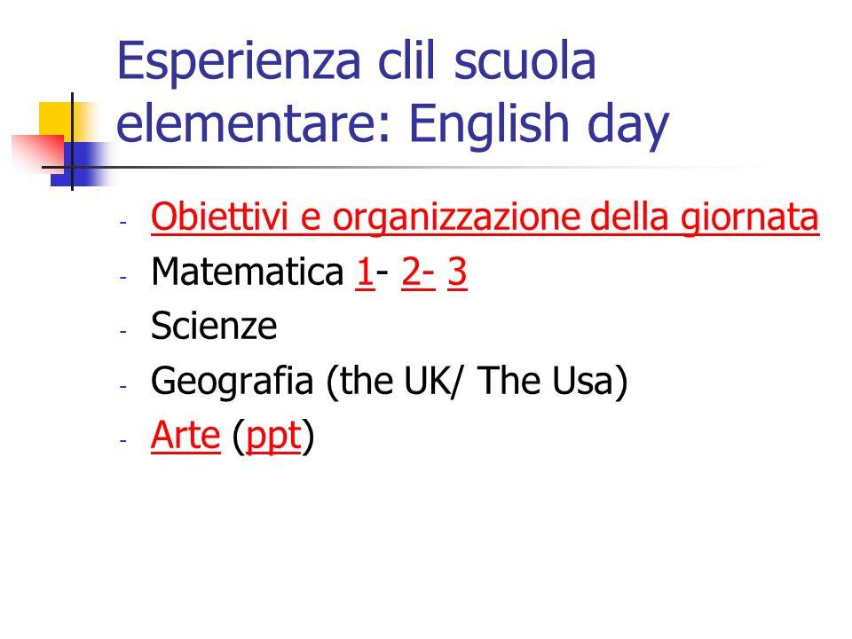 Esperienza clil scuola elementare: English day - Obiettivi e organizzazione della giornata Obiettivi e organizzazione della giornata - Matematica 1- 2