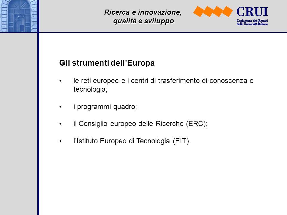 Ricerca e innovazione, qualità e sviluppo Gli strumenti dellEuropa le reti europee e i centri di trasferimento di conoscenza e tecnologia; i programmi quadro; il Consiglio europeo delle Ricerche (ERC); lIstituto Europeo di Tecnologia (EIT).
