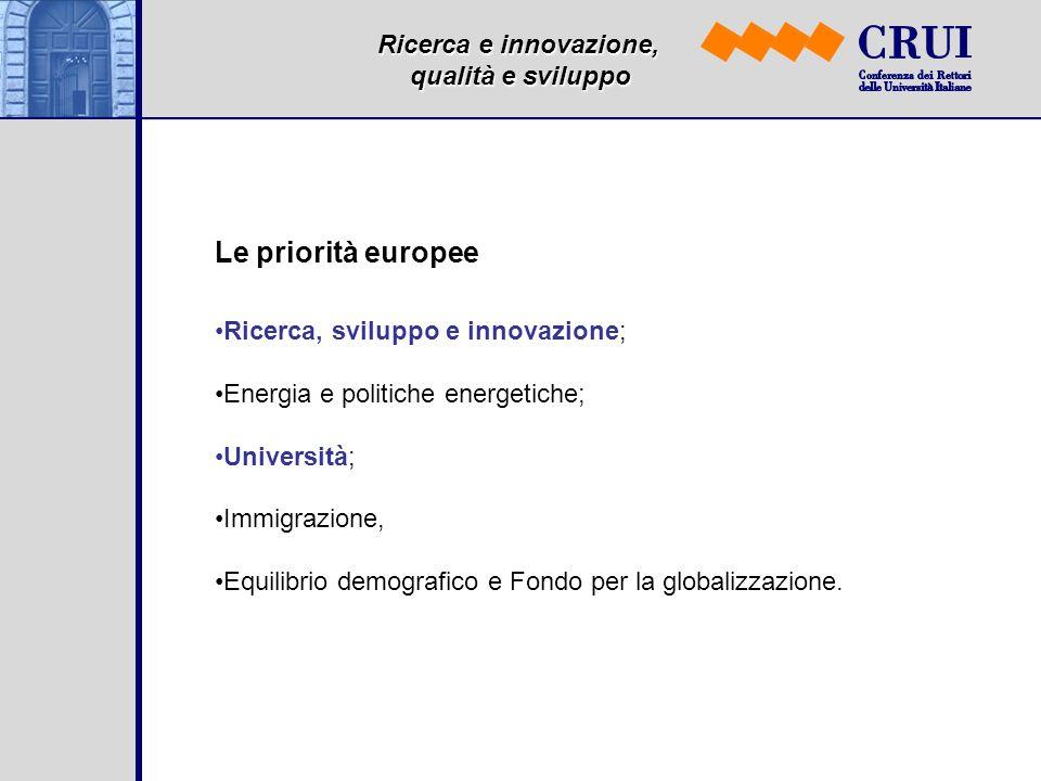 Ricerca e innovazione, qualità e sviluppo Le priorità europee Ricerca, sviluppo e innovazione; Energia e politiche energetiche; Università; Immigrazione, Equilibrio demografico e Fondo per la globalizzazione.