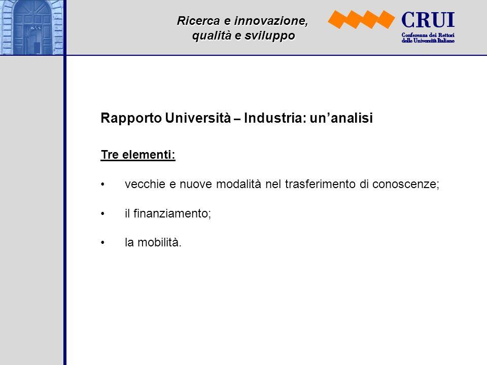 Ricerca e innovazione, qualità e sviluppo Rapporto Università – Industria: unanalisi Tre elementi: vecchie e nuove modalità nel trasferimento di conoscenze; il finanziamento; la mobilità.