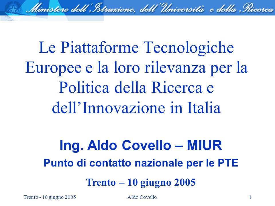 Trento - 10 giugno 2005Aldo Covello1 Le Piattaforme Tecnologiche Europee e la loro rilevanza per la Politica della Ricerca e dellInnovazione in Italia Ing.