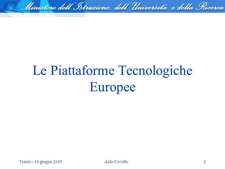 Trento - 10 giugno 2005Aldo Covello13 IL PROGRAMMA NAZIONALE PER LA RICERCA Definisce delle priorità tematiche strategiche per lItalia tramite lindividuazione di: 10 Programmi strategici; 9 Piattaforme tecnologiche italiane 7 Distretti tecnologici regionali.