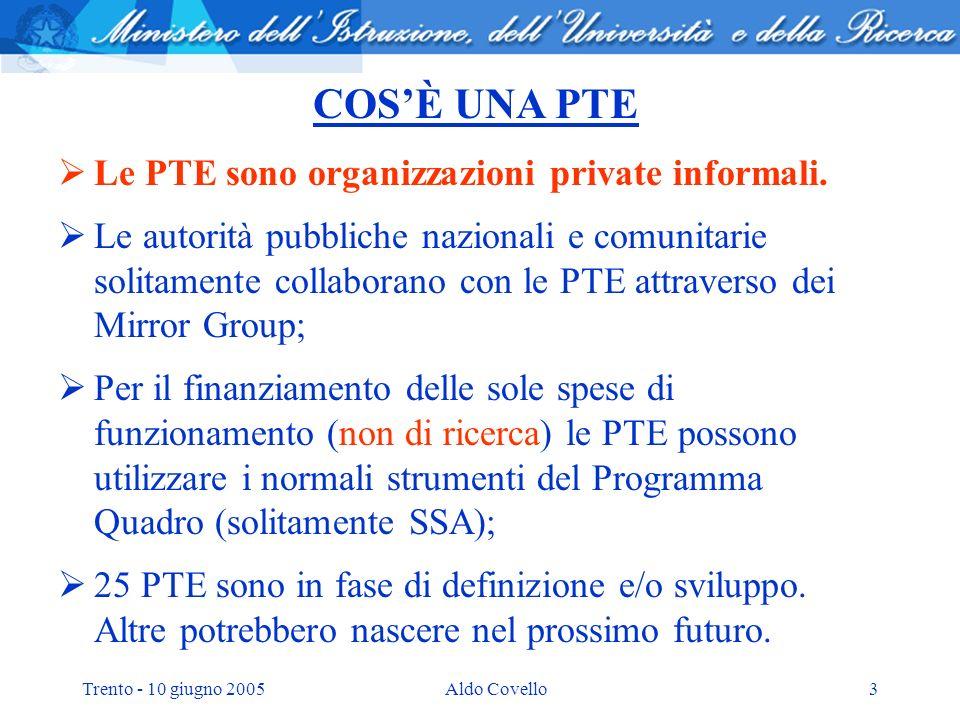 Trento - 10 giugno 2005Aldo Covello14 Correlazione tra i Programmi Strategici italiani e le PTE