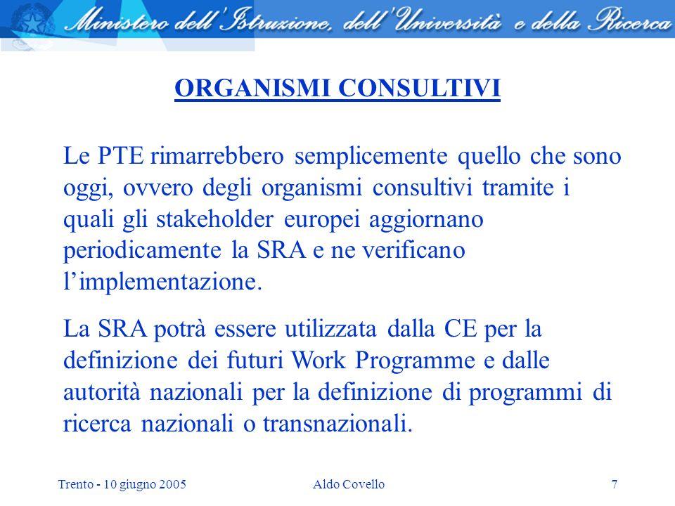 Trento - 10 giugno 2005Aldo Covello7 ORGANISMI CONSULTIVI Le PTE rimarrebbero semplicemente quello che sono oggi, ovvero degli organismi consultivi tramite i quali gli stakeholder europei aggiornano periodicamente la SRA e ne verificano limplementazione.