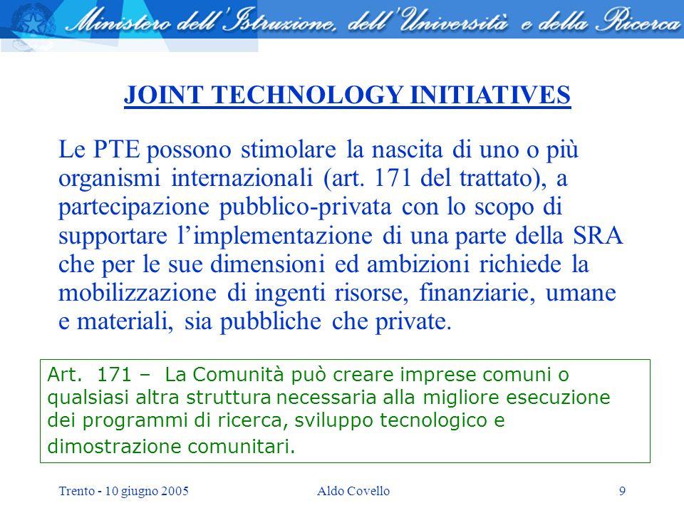 Trento - 10 giugno 2005Aldo Covello9 JOINT TECHNOLOGY INITIATIVES Le PTE possono stimolare la nascita di uno o più organismi internazionali (art.