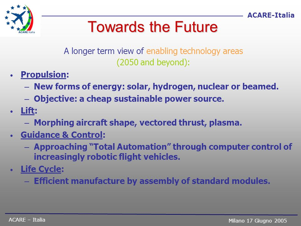 ACARE – Italia Milano 17 Giugno 2005 ACARE-Italia Towards the Future A longer term view of enabling technology areas (2050 and beyond): Propulsion: –