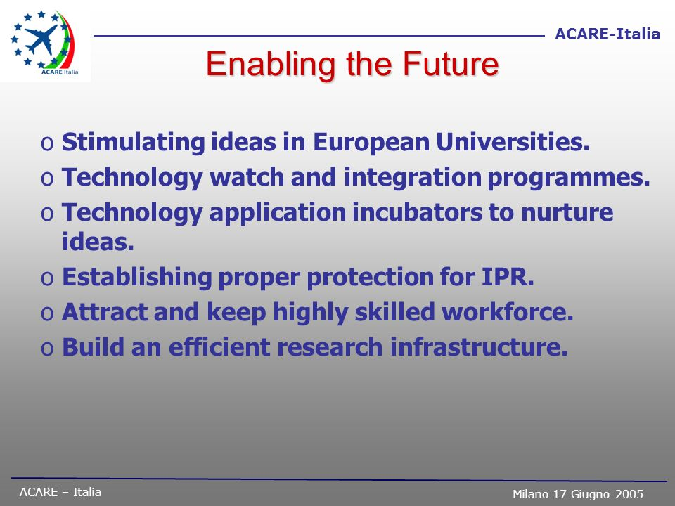 ACARE – Italia Milano 17 Giugno 2005 ACARE-Italia Enabling the Future oStimulating ideas in European Universities. oTechnology watch and integration p