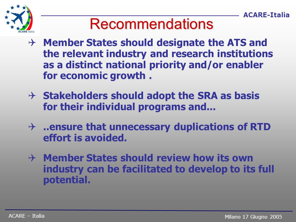 ACARE – Italia Milano 17 Giugno 2005 ACARE-Italia Recommendations Member States should designate the ATS and the relevant industry and research instit