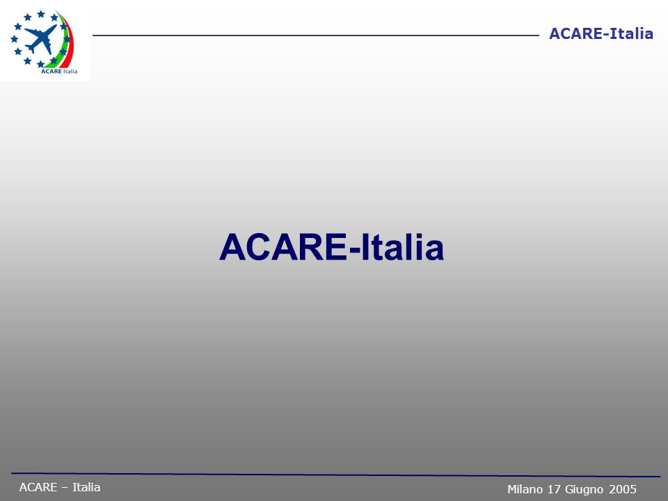 ACARE – Italia Milano 17 Giugno 2005 ACARE-Italia