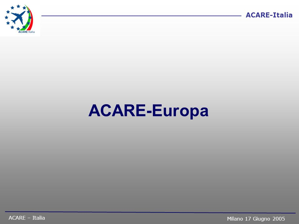 ACARE – Italia Milano 17 Giugno 2005 ACARE-Italia Obiettivi (ToR) di ACARE IT Formulare, partendo dalla Vision 2020, il documento di Vision nazionale con particolare riferimento alle specifiche esigenze dello scenario Italiano definendo le sfide (challenges) per ciascun settore.