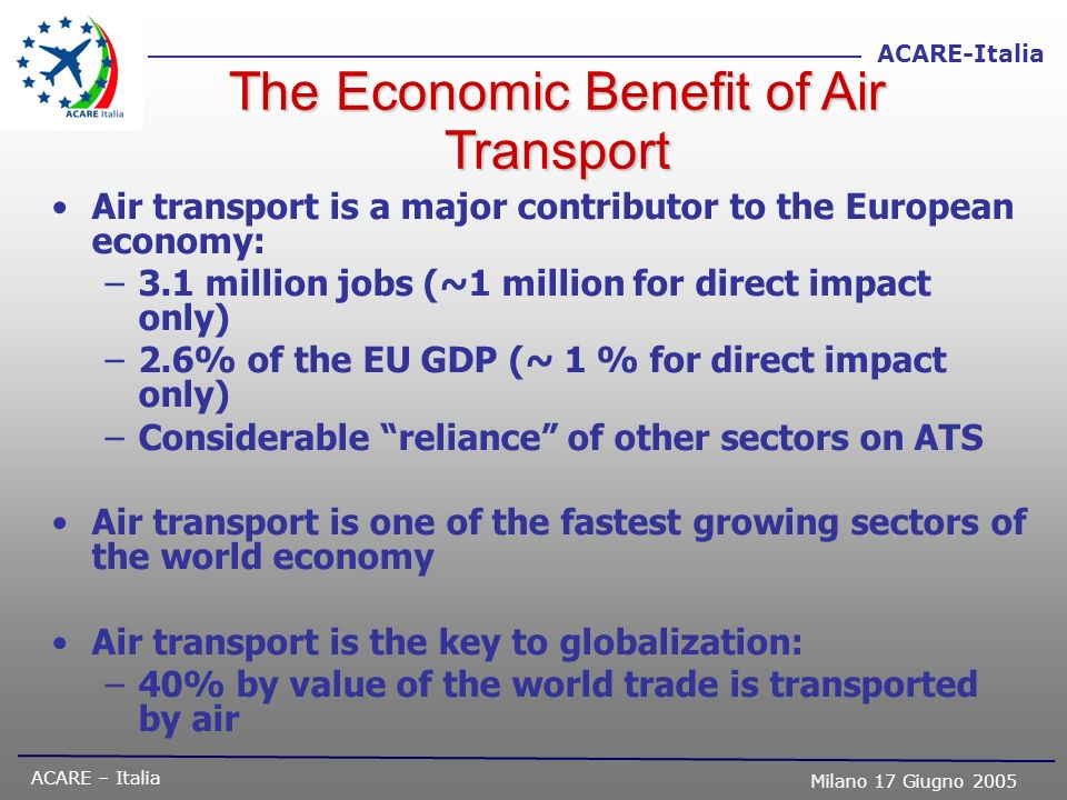 ACARE – Italia Milano 17 Giugno 2005 ACARE-Italia The Economic Benefit of Air Transport Air transport is a major contributor to the European economy: