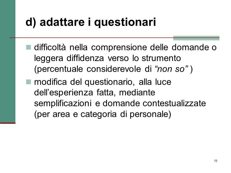 19 d) adattare i questionari difficoltà nella comprensione delle domande o leggera diffidenza verso lo strumento (percentuale considerevole di non so