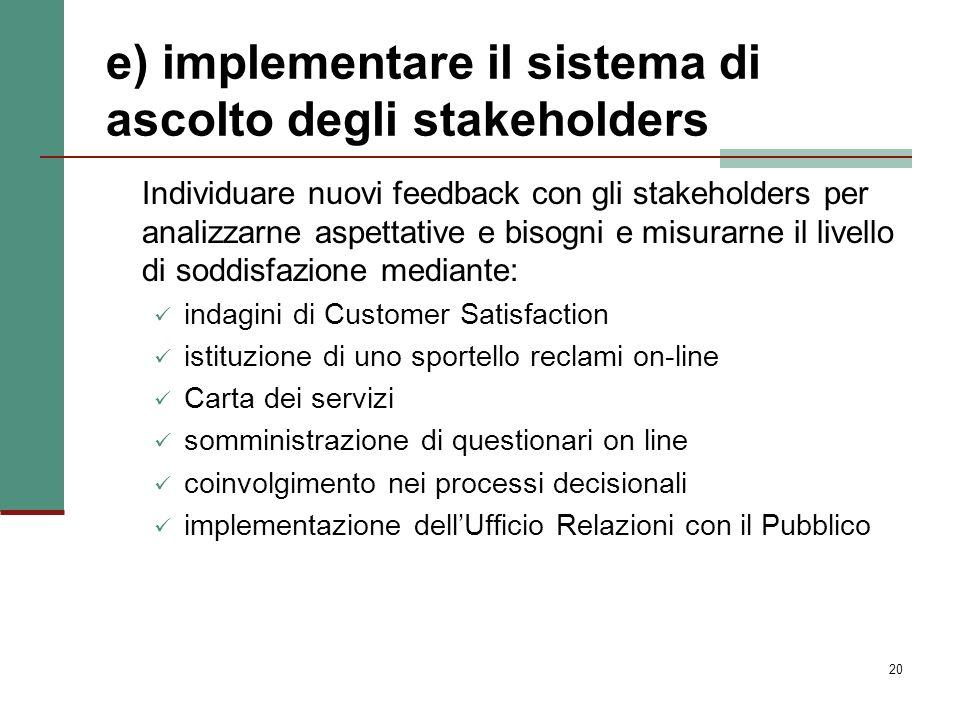 20 e) implementare il sistema di ascolto degli stakeholders Individuare nuovi feedback con gli stakeholders per analizzarne aspettative e bisogni e mi