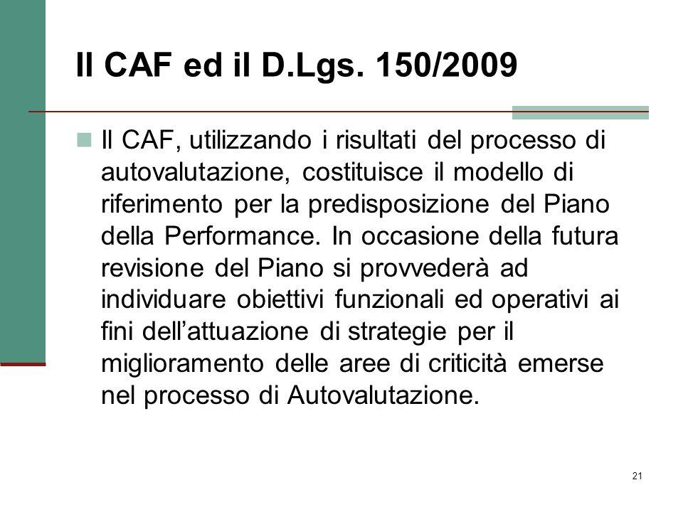 21 Il CAF ed il D.Lgs. 150/2009 Il CAF, utilizzando i risultati del processo di autovalutazione, costituisce il modello di riferimento per la predispo