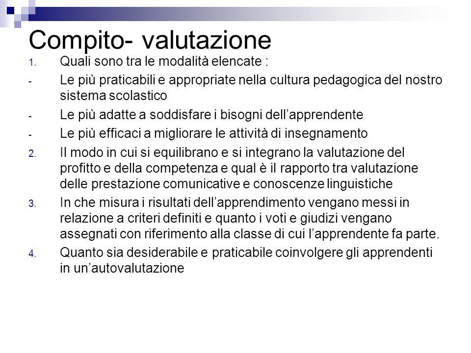 Compito- valutazione 1. Quali sono tra le modalità elencate : - Le più praticabili e appropriate nella cultura pedagogica del nostro sistema scolastic