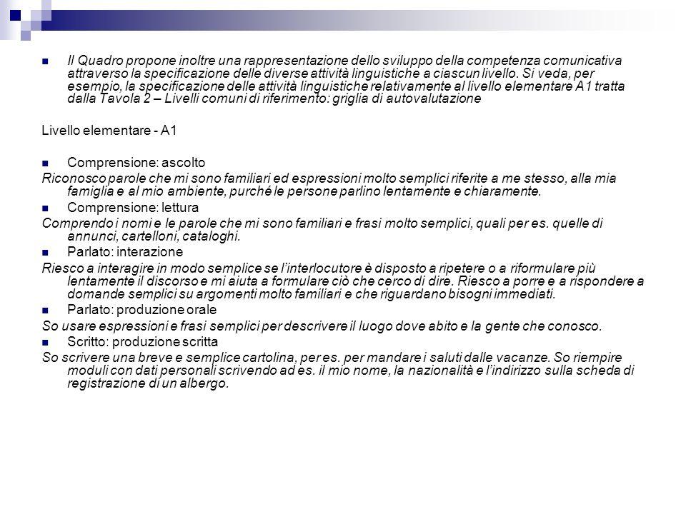 Il Quadro propone inoltre una rappresentazione dello sviluppo della competenza comunicativa attraverso la specificazione delle diverse attività lingui