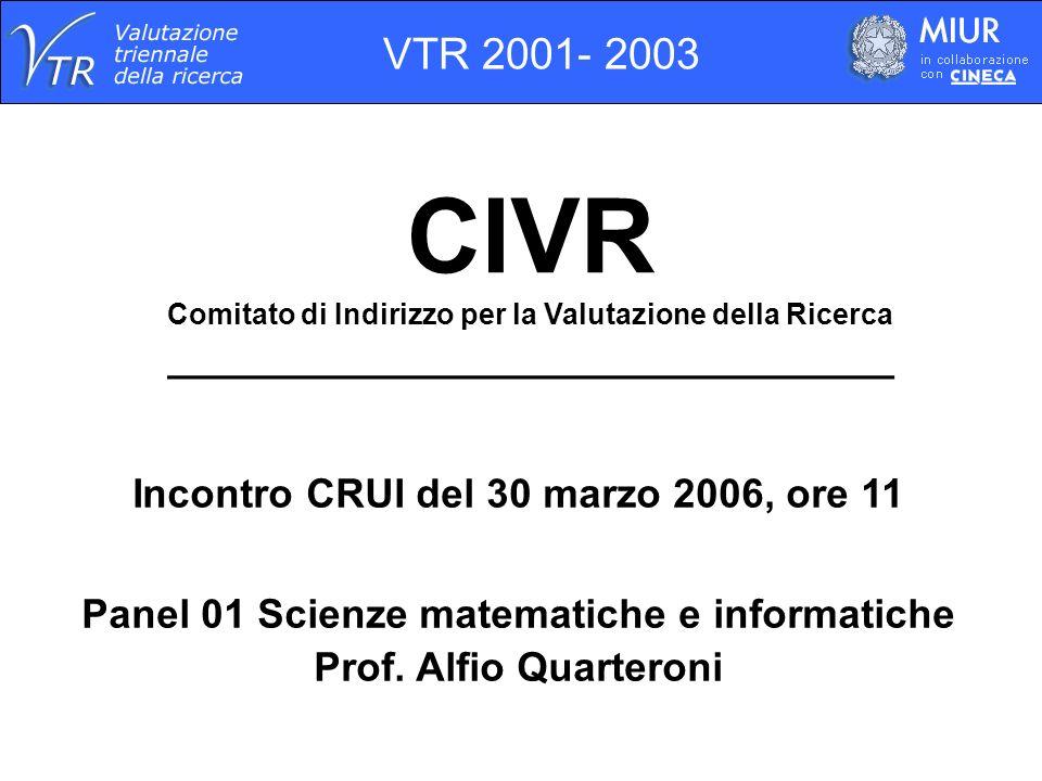 CIVR Comitato di Indirizzo per la Valutazione della Ricerca ________________________________ Incontro CRUI del 30 marzo 2006, ore 11 Panel 01 Scienze matematiche e informatiche Prof.