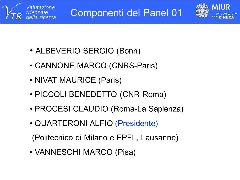 Componenti del Panel 01 ALBEVERIO SERGIO (Bonn) CANNONE MARCO (CNRS-Paris) NIVAT MAURICE (Paris) PICCOLI BENEDETTO (CNR-Roma) PROCESI CLAUDIO (Roma-La Sapienza) QUARTERONI ALFIO (Presidente) (Politecnico di Milano e EPFL, Lausanne) VANNESCHI MARCO (Pisa)