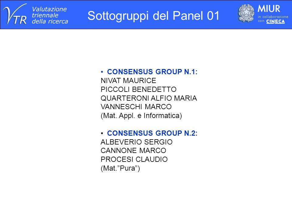 Sottogruppi del Panel 01 CONSENSUS GROUP N.1: NIVAT MAURICE PICCOLI BENEDETTO QUARTERONI ALFIO MARIA VANNESCHI MARCO (Mat. Appl. e Informatica) CONSEN
