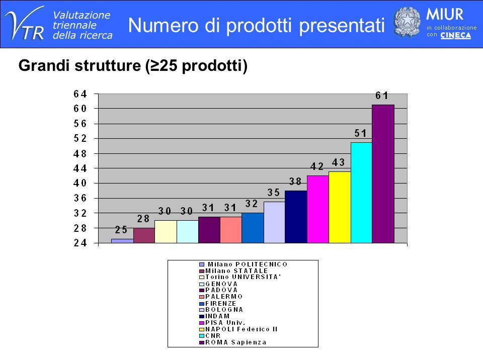 Numero di prodotti presentati Grandi strutture (25 prodotti)