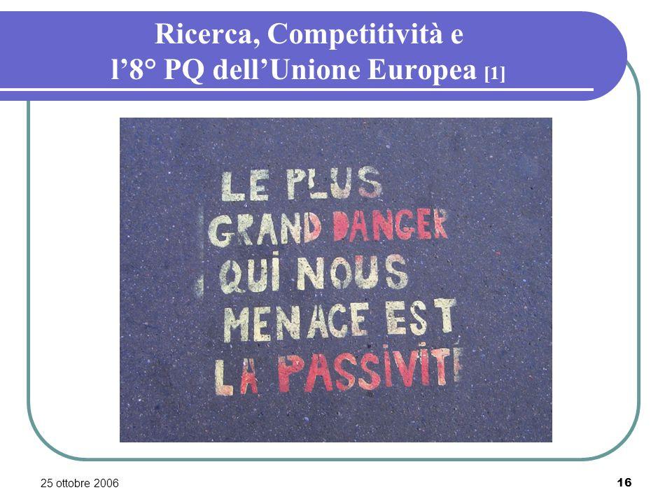 25 ottobre 200616 Ricerca, Competitività e l8° PQ dellUnione Europea [1]