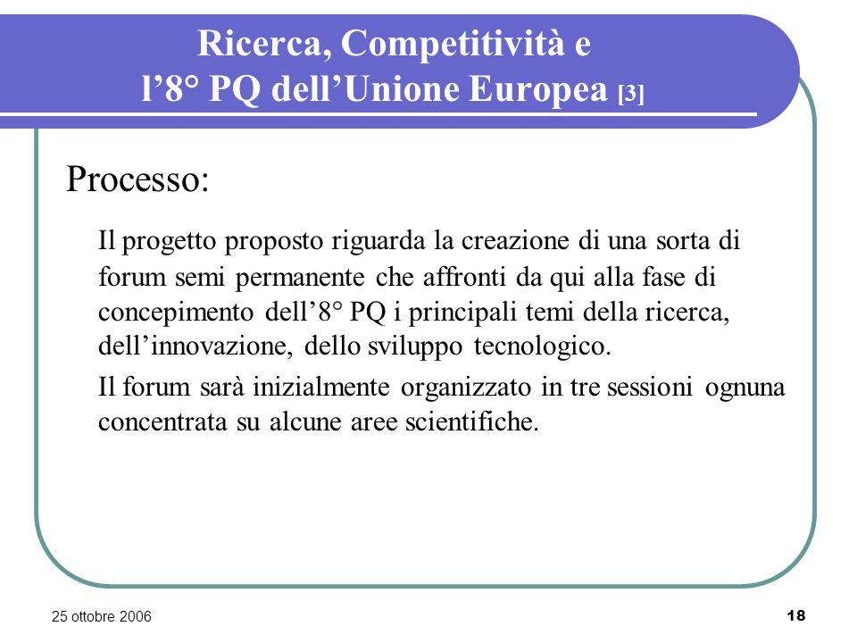 25 ottobre 200618 Ricerca, Competitività e l8° PQ dellUnione Europea [3] Processo: Il progetto proposto riguarda la creazione di una sorta di forum semi permanente che affronti da qui alla fase di concepimento dell8° PQ i principali temi della ricerca, dellinnovazione, dello sviluppo tecnologico.