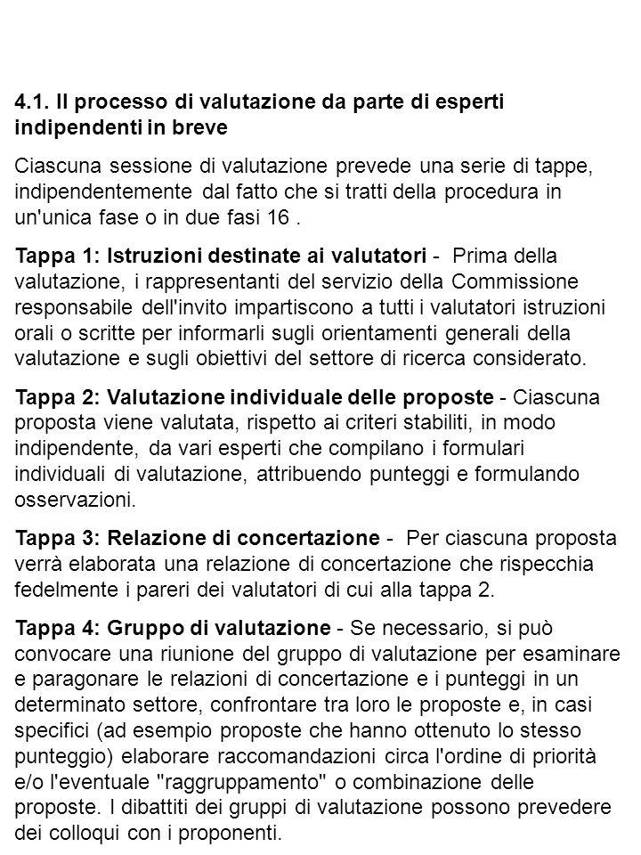 4.1. Il processo di valutazione da parte di esperti indipendenti in breve Ciascuna sessione di valutazione prevede una serie di tappe, indipendentemen