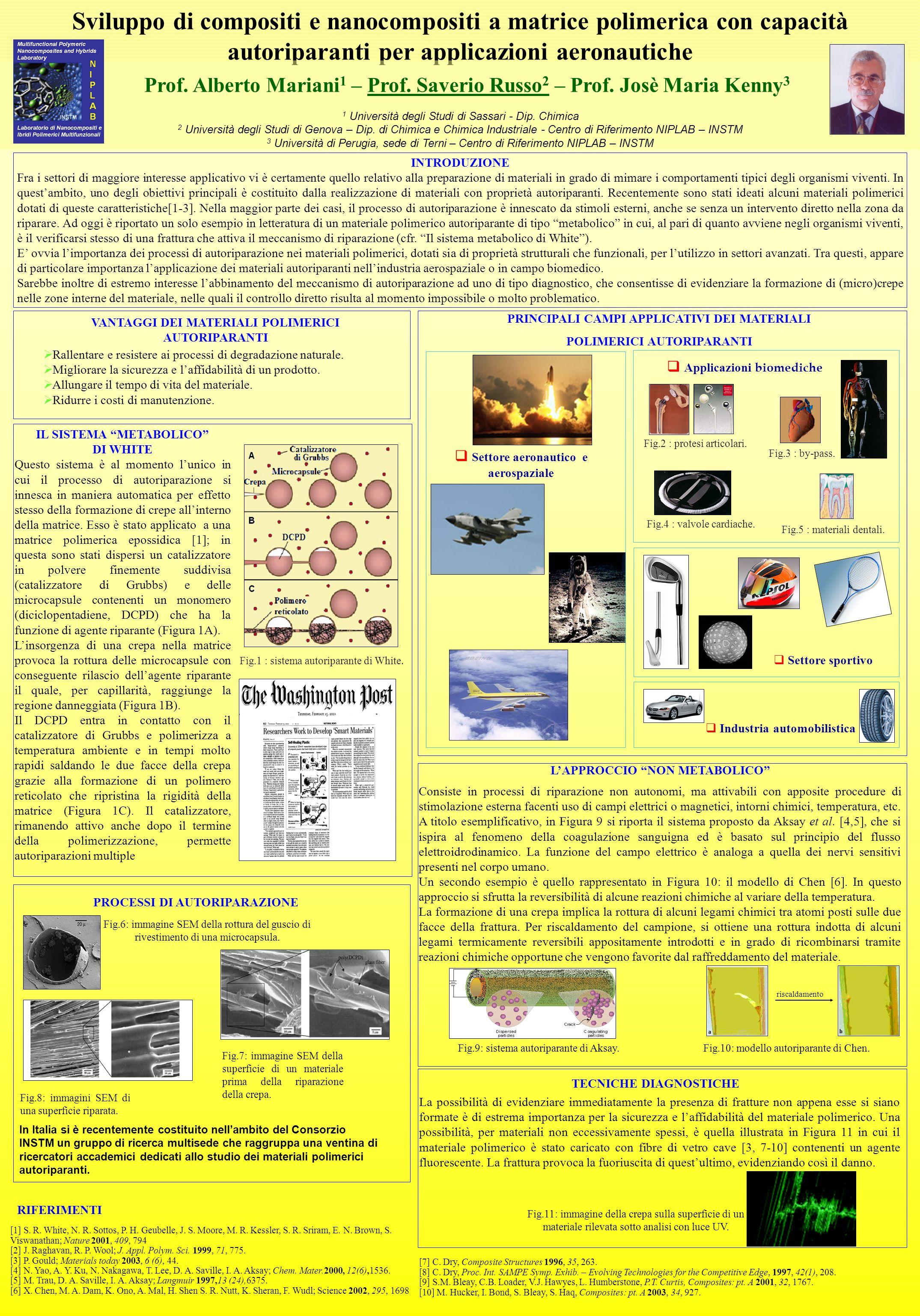 Sviluppo di compositi e nanocompositi a matrice polimerica con capacità autoriparanti per applicazioni aeronautiche Prof.