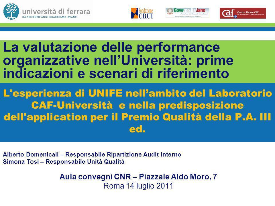 L esperienza di UNIFE nellambito del Laboratorio CAF-Università e nella predisposizione dell application per il Premio Qualità della P.A.