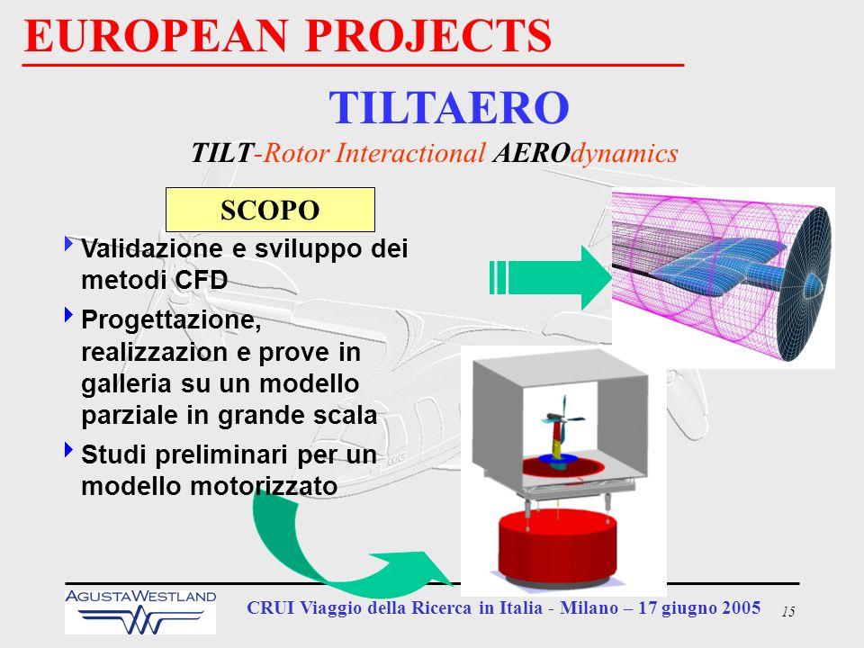 15 CRUI Viaggio della Ricerca in Italia - Milano – 17 giugno 2005 EUROPEAN PROJECTS TILTAERO TILT-Rotor Interactional AEROdynamics SCOPO Validazione e