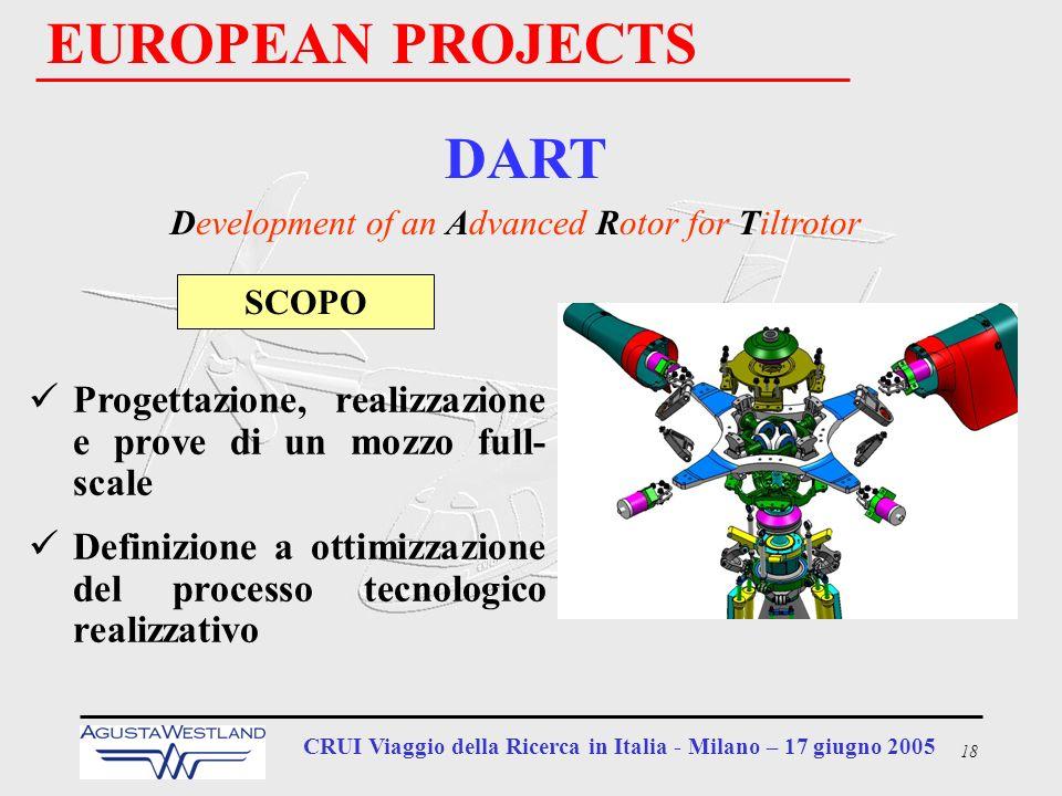 18 CRUI Viaggio della Ricerca in Italia - Milano – 17 giugno 2005 EUROPEAN PROJECTS DART Development of an Advanced Rotor for Tiltrotor Progettazione,