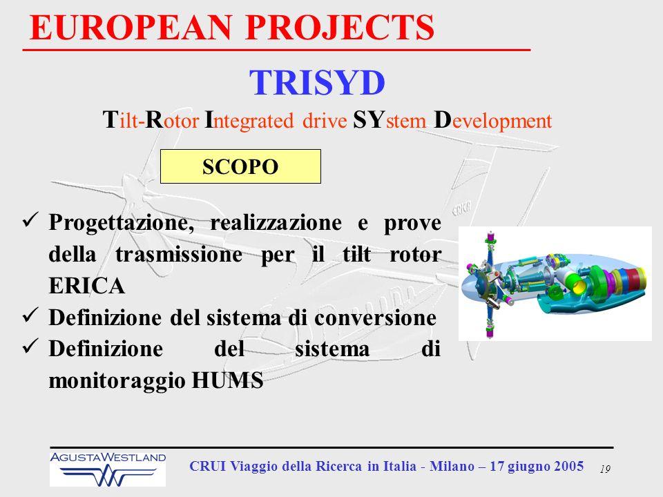19 CRUI Viaggio della Ricerca in Italia - Milano – 17 giugno 2005 EUROPEAN PROJECTS TRISYD T ilt- R otor I ntegrated drive SY stem D evelopment Proget