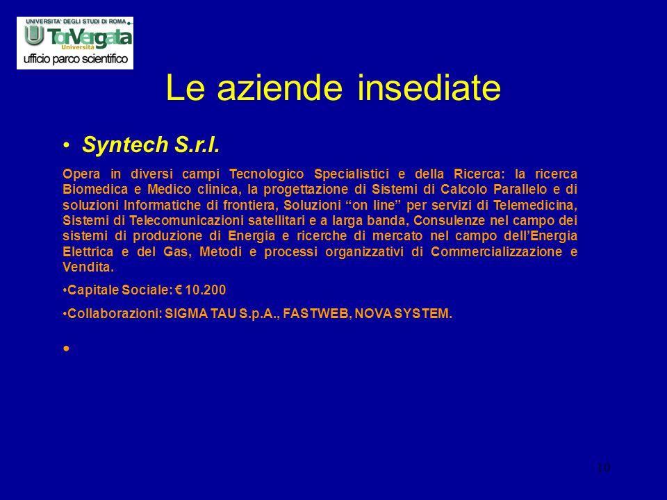 10 Le aziende insediate Syntech S.r.l.