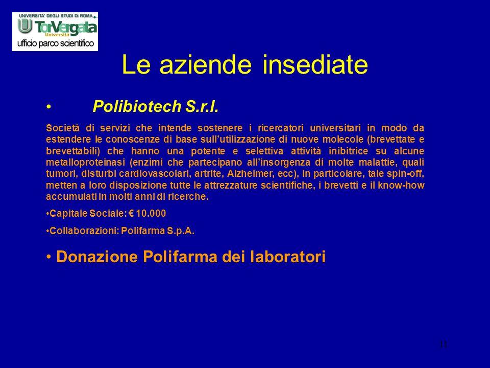 11 Le aziende insediate Polibiotech S.r.l.