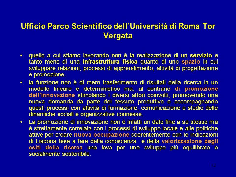 12 Ufficio Parco Scientifico dellUniversità di Roma Tor Vergata quello a cui stiamo lavorando non è la realizzazione di un servizio e tanto meno di una infrastruttura fisica quanto di uno spazio in cui sviluppare relazioni, processi di apprendimento, attività di progettazione e promozione.