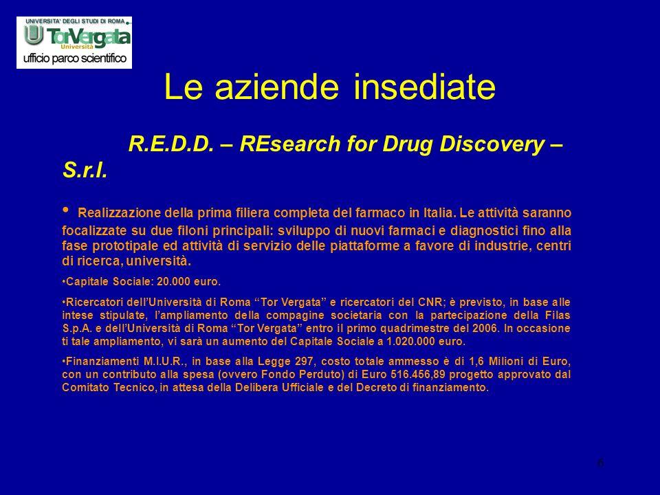 6 Le aziende insediate R.E.D.D. – REsearch for Drug Discovery – S.r.l.