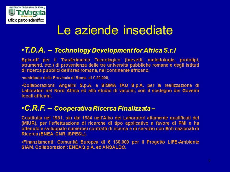 9 Le aziende insediate T.D.A.