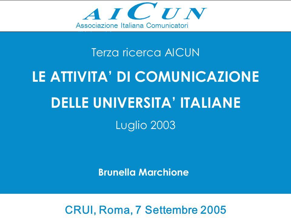 Associazione Italiana Comunicatori d Università Terza ricerca AICUN LE ATTIVITA DI COMUNICAZIONE DELLE UNIVERSITA ITALIANE Luglio 2003 Brunella Marchione CRUI, Roma, 7 Settembre 2005