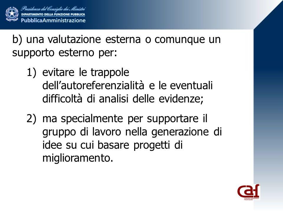 b) una valutazione esterna o comunque un supporto esterno per: 1)evitare le trappole dellautoreferenzialità e le eventuali difficoltà di analisi delle