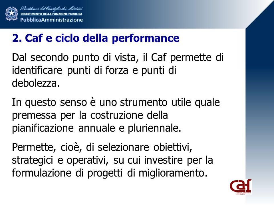 2. Caf e ciclo della performance Dal secondo punto di vista, il Caf permette di identificare punti di forza e punti di debolezza. In questo senso è un