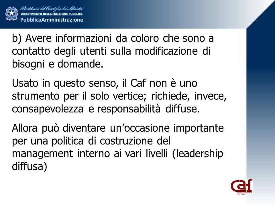 b) Avere informazioni da coloro che sono a contatto degli utenti sulla modificazione di bisogni e domande.