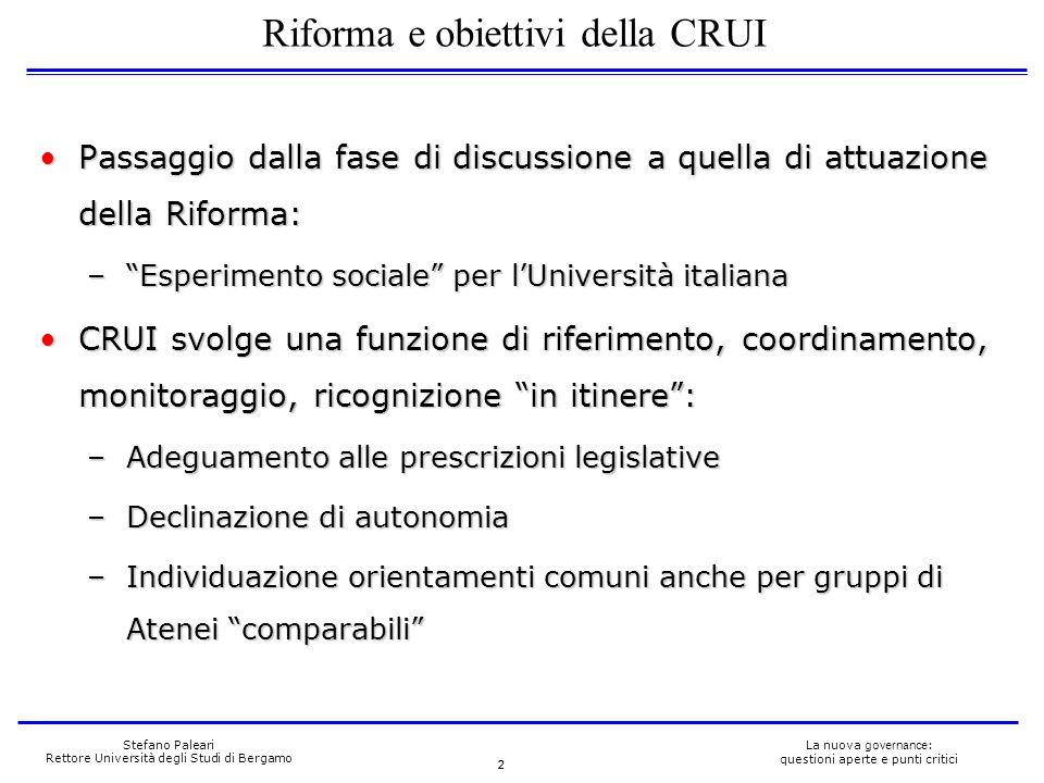 2 La nuova governance : questioni aperte e punti critici Stefano Paleari Rettore Università degli Studi di Bergamo Passaggio dalla fase di discussione